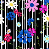 Abstract flowers Cornflowers stripes-01 Royalty Free Stock Photos
