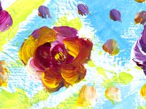 Abstract flowers, creative abstract hand painted background. Abstract colorful flowers, hand painted background, fragment of brush acrylic painting on canvas royalty free illustration