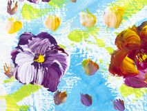 Abstract flowers, creative abstract hand painted background. Abstract colorful flowers, hand painted background, fragment of brush acrylic painting on canvas vector illustration