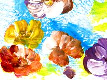 Abstract flowers, creative abstract hand painted background. Abstract colorful flowers, hand painted background, fragment of brush acrylic painting on canvas stock illustration