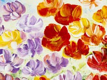 Abstract flowers, creative hand painted background. Abstract flowers, original acrylic painting. Creative abstract hand painted background royalty free illustration