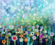 Abstract Flowers Dandelion, Watercolor Painting. Royalty Free Stock Photos