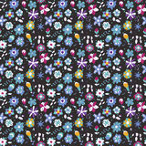 Abstract flowers on a dark background. Seamless pattern of abstract flowers on a dark background Stock Image