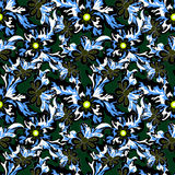 Abstract flowers on dark background seamless pattern. (vector eps 10 Royalty Free Stock Photos