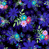 Abstract flowers dark blue-01. Cute colored flowers and leaves on a black background.Seamless pattern for spring and summer. Floral vector illustration.Suitable Royalty Free Stock Photos