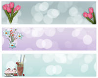 Abstract flowers and desserts, brochure template, banners set Royalty Free Stock Photo