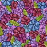 Abstract flowers graphic violet pink blue green seamless pattern illustration Stock Photo