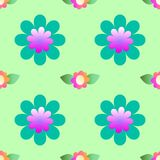 Abstract flowers on a green background, seamless pattern royalty free stock photo