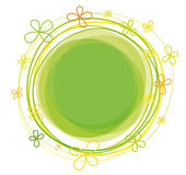 Abstract flowers. On green circle vector illustration