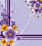 Abstract flowers on grunge background. Abstract purple  flowers on grunge background, vector, illustration Royalty Free Stock Photo