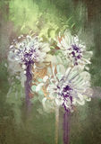 Abstract flowers with grunge texture,painting Royalty Free Stock Photos