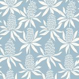 Abstract flowers hand drawn seamless blue pattern vector illustration