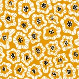Abstract flowers hand drawn seamless color pattern stock illustration