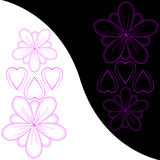 Abstract flowers and hearts Royalty Free Stock Photo