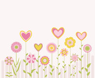 Abstract flowers and hearts Royalty Free Stock Photos