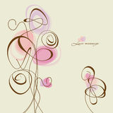 Abstract flowers and hearts. Vector flowers and hearts, calligraphic design elements Royalty Free Stock Image