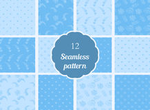 Abstract flowers, hearts, circles. Set of seamless patterns in soft blue and blue tones Royalty Free Stock Images