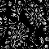 Abstract flowers with hounds-tooth plaid pattern. Stock Photography