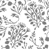 Abstract flowers with hounds-tooth plaid pattern. Stock Images
