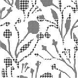 Abstract flowers with hounds-tooth plaid pattern. Stock Photo