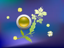 Abstract with flowers and icon. Abstract design on flowers and circular icon against bluish-purple background Royalty Free Stock Photo
