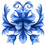 Abstract flowers illustration, blue gzhel floral design element Royalty Free Stock Image