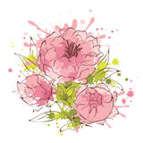 Abstract flowers illustration -- peonies Royalty Free Stock Images