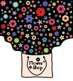 Abstract flowers in a kraft package. Flower shop. Vector design Stock Photography