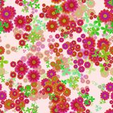Abstract flowers, Leafs and blooms, Red, orange and green floral pattern, Petal leafy texture background, Seamless illustration Stock Images