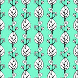 Abstract flowers and leaves seamless pattern, vector background. Black  white    on a green blue . Hand drawing for design of wall. Abstract flowers and leaves Royalty Free Stock Photos