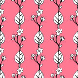 Abstract flowers and leaves seamless pattern, vector background. Black  white    on a pink . Hand drawing for design of wallpaper, Royalty Free Stock Photo