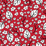 Abstract flowers and leaves seamless pattern, vector background. Black  white    on a red . Hand drawing for design of wallpaper, Stock Images