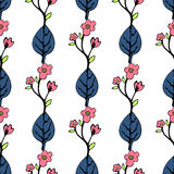 Abstract flowers and leaves seamless pattern, vector background. Blue pink on a white . Hand drawing for design of wallpaper, f. Abstract flowers and leaves royalty free illustration