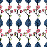 Abstract flowers and leaves seamless pattern, vector background. Blue pink on a white . Hand drawing for design of wallpaper, f. Abstract flowers and leaves stock illustration