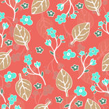 Abstract flowers and leaves seamless pattern, vector background. Hand drawing for design of wallpaper, fabric, wrap. Decoration Stock Image