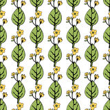 Abstract flowers and leaves seamless pattern, vector background. Hand drawing for design of wallpaper, fabric, wrap. Decoration Royalty Free Stock Photos