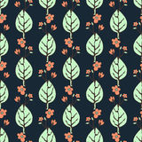 Abstract flowers and leaves seamless pattern, vector background. Hand drawing for design of wallpaper, fabric, wrap. Decoration royalty free illustration