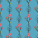 Abstract flowers and leaves seamless pattern, vector background. Hand drawing for design of wallpaper, fabric, wrap. Decoration Stock Photo