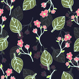 Abstract flowers and leaves seamless pattern, vector background. Hand drawing for design of wallpaper, fabric, wrap Stock Image