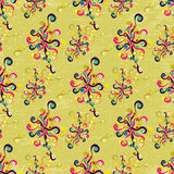 Abstract flowers on a light background grunge texture seamless pattern Stock Photos
