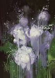 Abstract flowers,paint dripping from white flowers Stock Photography
