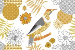 Golden and silver floral pattern with birds in the garden. Minimalism style. royalty free illustration