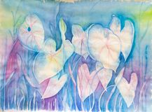 Abstract Flowers in Pastel Colors - Original Watercolor Painting royalty free stock photos