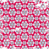 Abstract flowers on pink background seamless pattern grunge texture. (vector eps 10 Stock Photo