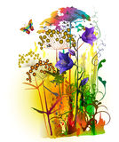 Abstract flowers plant painting, vector Royalty Free Stock Photo