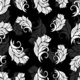 Abstract flowers and plants seamless pattern, vector black  white background, monochrome. Natural stylized ornament. Hand drawing. Abstract flowers and plants Stock Images