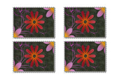 Abstract flowers and plants in stamp form Royalty Free Stock Images