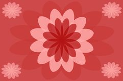 Abstract with flowers and red background vector illustration