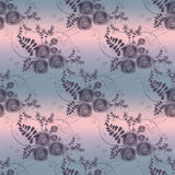 Abstract flowers retro seamless pattern on grey background Royalty Free Stock Images