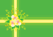 Abstract flowers with ribbon and background Royalty Free Stock Images